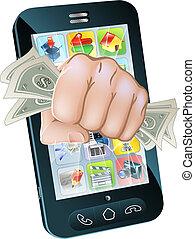 mobiele telefoon, concept, contant, fist