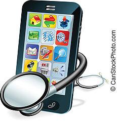 mobiele telefoon, concept, gezondheid controle