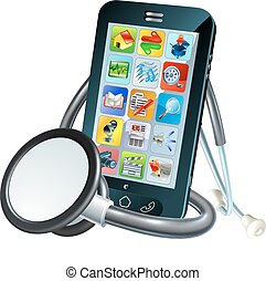 mobiele telefoon, concept, gezondheid