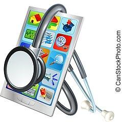 mobiele telefoon, concept, gezondheid, herstelling