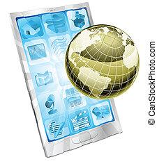 mobiele telefoon, globe, concept