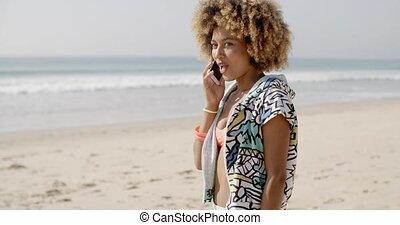 mobiele telefoon, meisje, strand, klesten