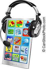 mobiele telefoon, steun, concept, praatje