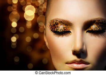 mode, beauty, makeup, luipaard, model, vakantie, meisje