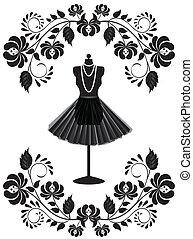 mode, frame, halssnoer, paspop, floral, rok, kaart