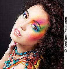 mode, kleurrijke, beauty, geverfde, makeup, -, creatief, vrouw confronteren