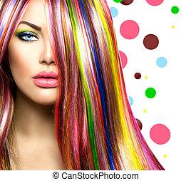 mode, kleurrijke, beauty, makeup., haar, model, meisje