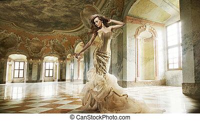 mode, kunst, foto, jonge, boete, interieur, modieus, dame