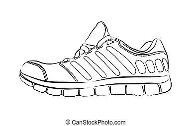 mode, kunst, work., getrokken, illustratie, creatief, vector, inkt, sneakers., daadwerkelijk, hand, tekening