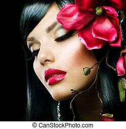 mode, magnolia, vrijstaand, brunette, black , bloem girl