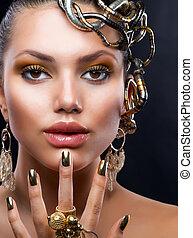 mode, makeup, model, jewelry., verticaal, gouden