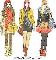 mode, modieus, meiden, warme, vector, kleren