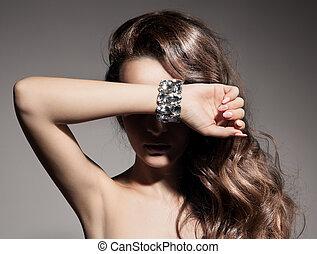 mode, mooi, verticaal, vrouw, juwelen