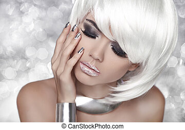 mode, oog, beauty, rokerig, makeup., girl., vrouw, blonde , verticaal, op