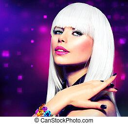 mode, paarse , makeup, disco, haar, portrait., partij meisje, witte