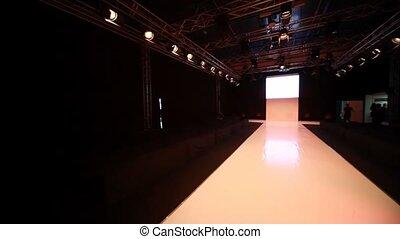 mode, podium, panning, model, horizontaal, lege