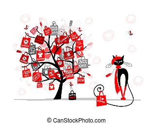 mode, shoppen , boompje, seizoen, verkoop, kat, zak, ontwerp, jouw