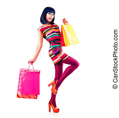 mode, shoppen , lengte, volle, verticaal, model, meisje