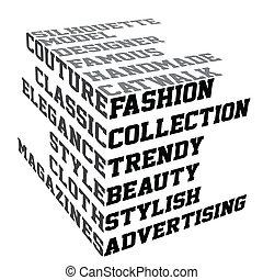 mode, termijnen, typografie