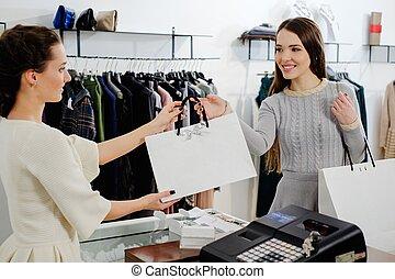 mode, toonzaal, shoppen , vrolijke , zak, klant