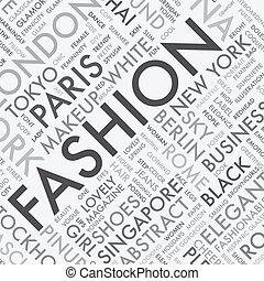 mode, woord, typografie, label, t, wolk
