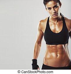 model, achtergrond, grijze , vrouwlijk, fitness
