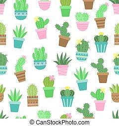 model, cactus, schattig, seamless, vector