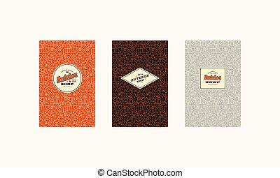model, dekking, set, logo, slager, etiket, seamless, winkel