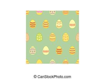 model, groene, kleurrijke, pasen, behang, tegel, achtergrond, eitjes, vector, versiering, seamless