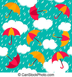 model, kleurrijke, seamless, paraplu's