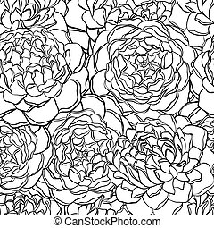 model, seamless, flowers., black , witte , monochroom