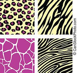 &, model, /, tiger, zebra, giraffe, gele, leopar, dier, roze