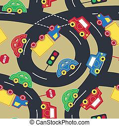 model, verkeer, seamless, vervoeren