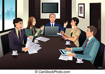 moderne, vergadering, zakenkantoor, team