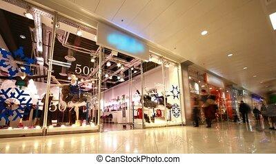 moderne, winkelende mensen, centrum