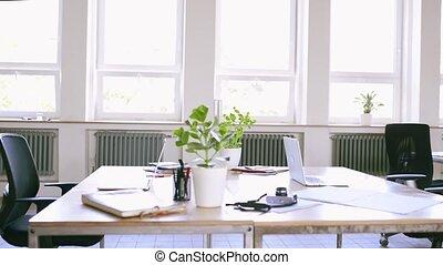 moderne, work., kantoor, na, helder, interieur, lege