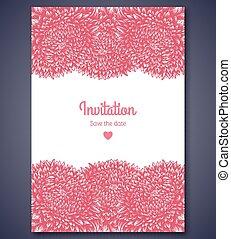 modieus, uitnodiging, aster, flowers., mal, huwlijkskaart