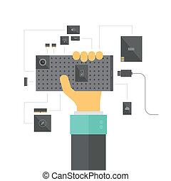 modulair, smartphone, concept, illustratie