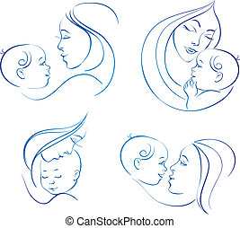 moeder, baby., lineair, set, illustraties, silhouette