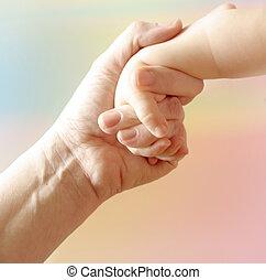 moeder, hand, kind