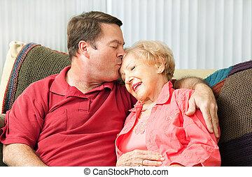 moeder, het geven, bejaarden