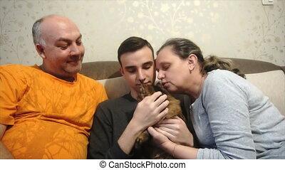 moeder het spelen, vader, vrolijke , kat, zoon, gezin