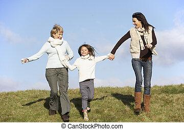 moeder, jonge, grootmoeder, holdingshanden, meisje