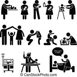 moeder, vader, kinderjuffrouw, kind, baby, care
