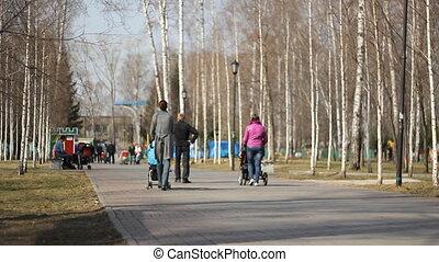 moeder, wandelende, jonge, de stad van het park