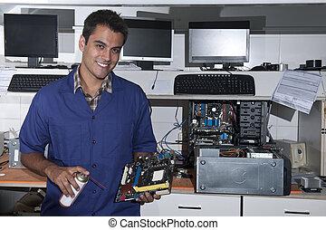 moederbord, technicus, workshop, computer