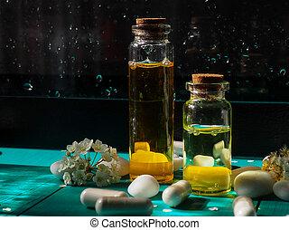 moisturizing, schoonmaken, schoonheidsmiddel, olie, blauwe , transparant, zomer, fles, golven, bloemen, zonlicht, water, verdoezelen, achtergrond.