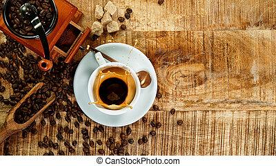 mok, expresso, gespetter, koffie