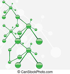 molecule, groene, zilver, achtergrond