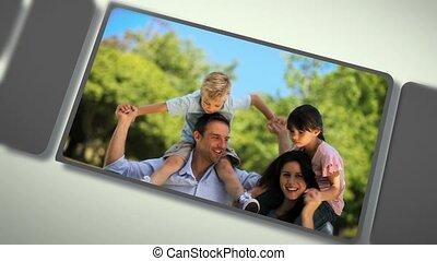 momenten, delen, montage, families